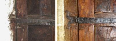 Leon_restauracion_puerta_iglesia_castaño_Calamocos